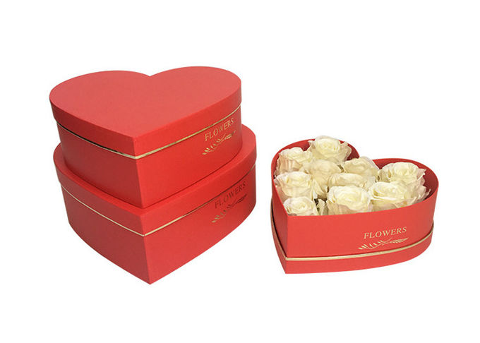 Heart Shape Cardboard Rose Boxes With Embossing / Glossy Lamination Finishing